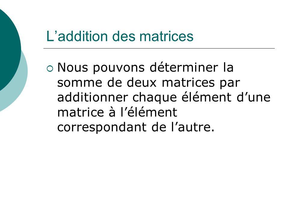 Laddition des matrices Nous pouvons déterminer la somme de deux matrices par additionner chaque élément dune matrice à lélément correspondant de lautr