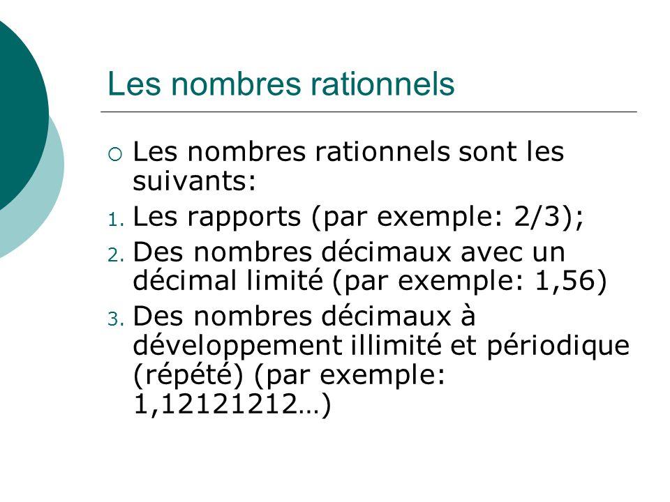 Les nombres rationnels Les nombres rationnels sont les suivants: 1. Les rapports (par exemple: 2/3); 2. Des nombres décimaux avec un décimal limité (p