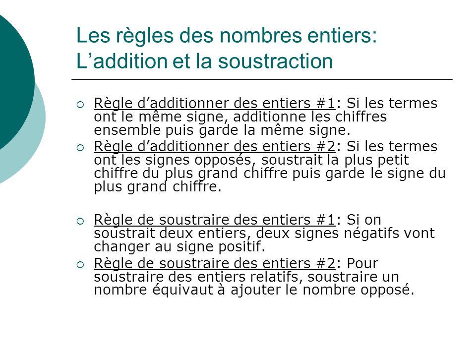 Les règles des nombres entiers: La multiplication et la division Les règles de multiplier entiers: 1.