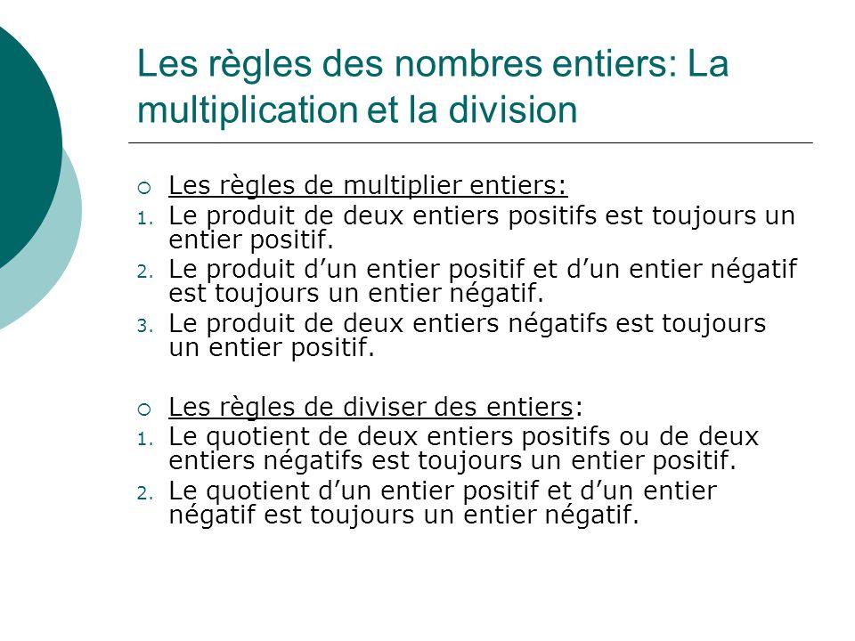Les règles des nombres entiers: La multiplication et la division Les règles de multiplier entiers: 1. Le produit de deux entiers positifs est toujours