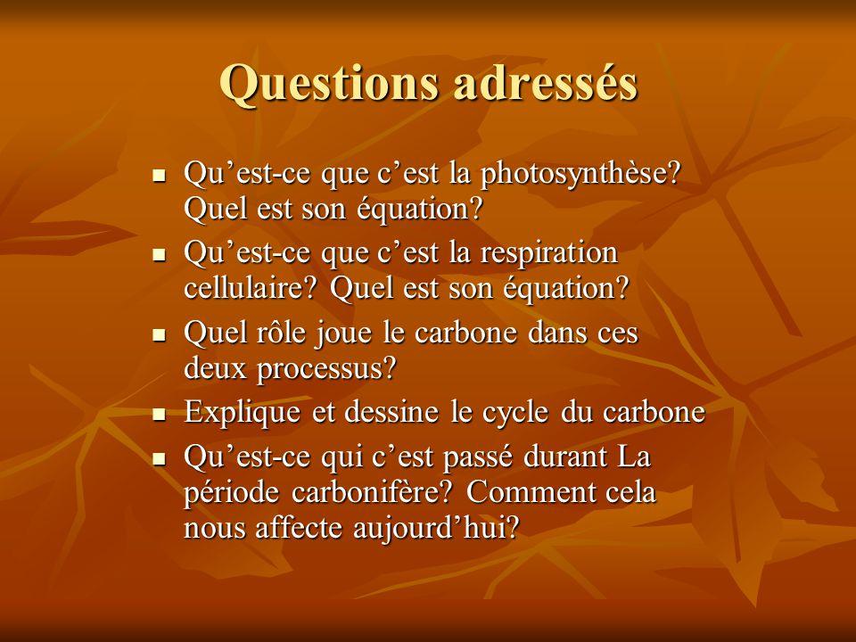 Questions adressés Quest-ce que cest la photosynthèse? Quel est son équation? Quest-ce que cest la photosynthèse? Quel est son équation? Quest-ce que
