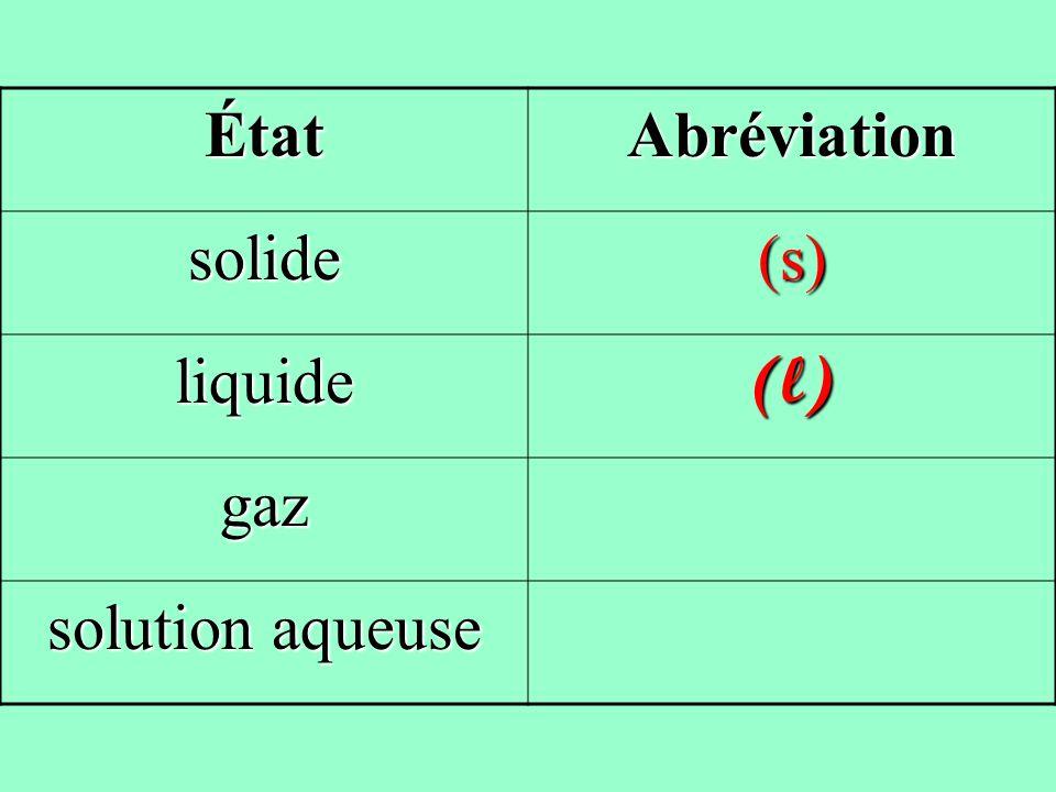 ÉtatAbréviation solide(s) liquide(l) gaz