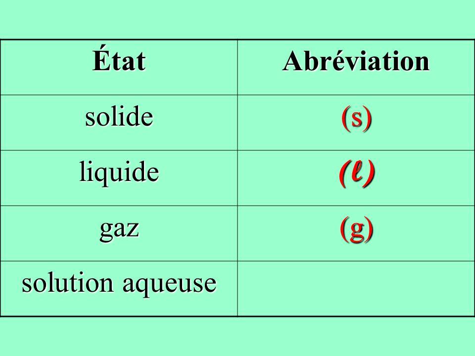 ÉtatAbréviation solide(s) liquide(l) gaz(g)