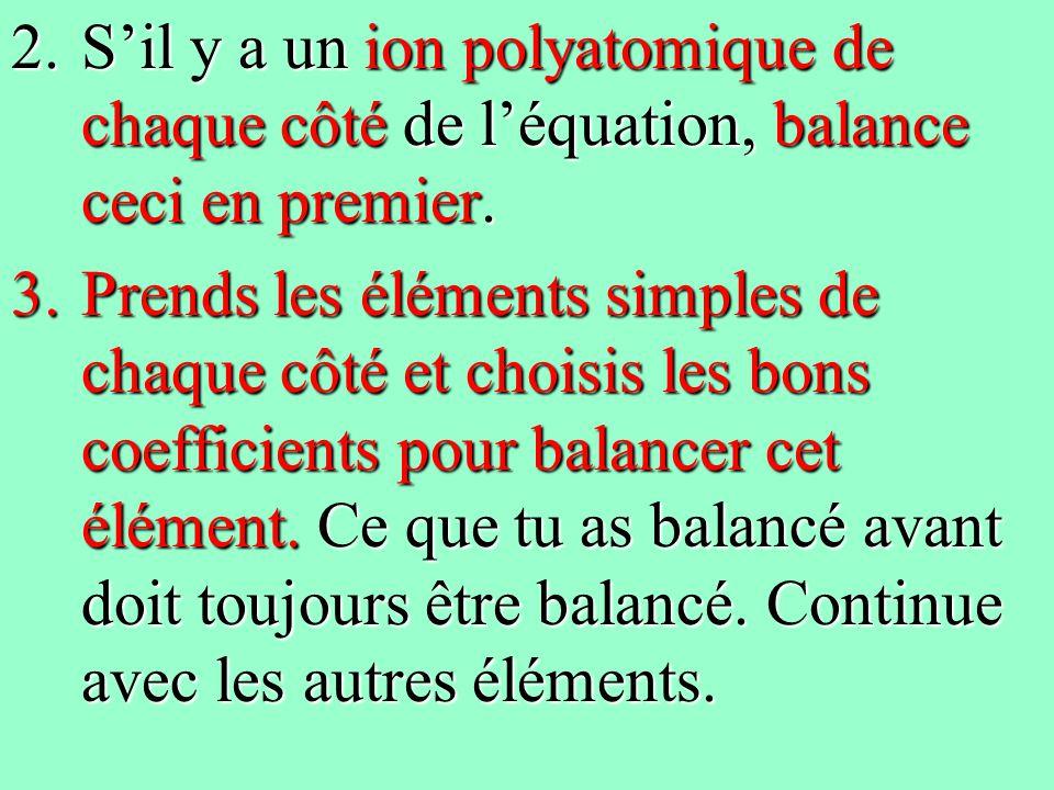 2.Sil y a un ion polyatomique de chaque côté de léquation, balance ceci en premier. 3.Prends les éléments simples de chaque côté et choisis les bons c