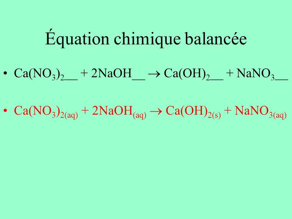 Équation chimique balancée Ca(NO 3 ) 2 __ + 2NaOH__ Ca(OH) 2 __ + NaNO 3 __ Ca(NO 3 ) 2(aq) + 2NaOH (aq) Ca(OH) 2(s) + NaNO 3(aq)