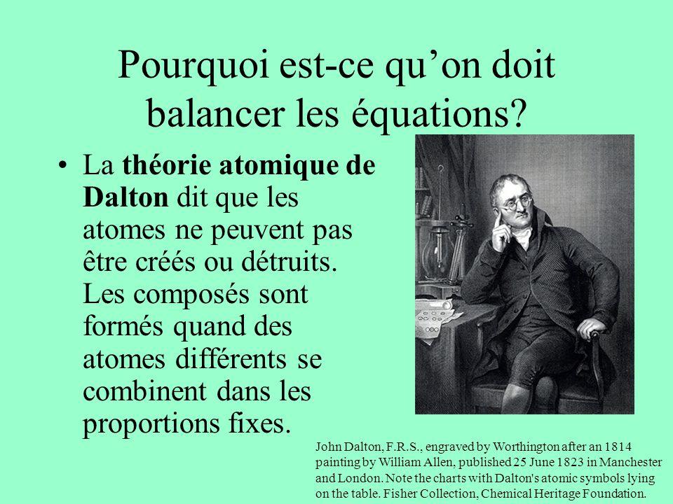 Pourquoi est-ce quon doit balancer les équations? La théorie atomique de Dalton dit que les atomes ne peuvent pas être créés ou détruits. Les composés