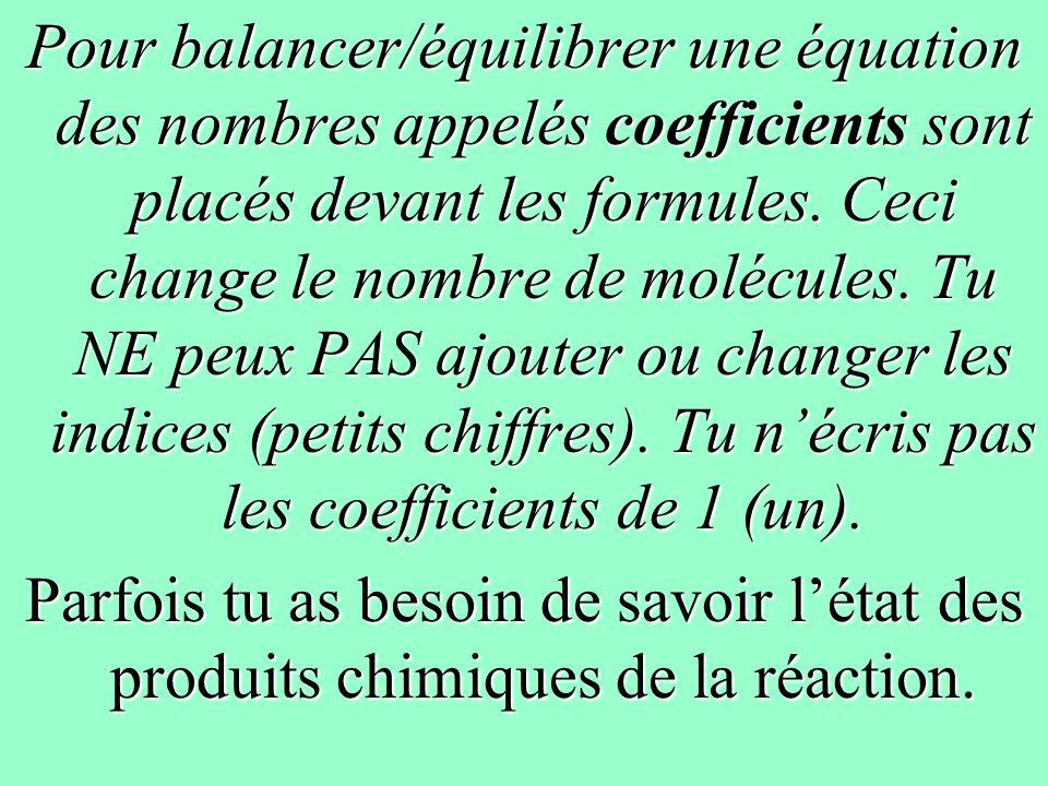 Exemple 2 Équation nominale: cuivre+ nitrate dargent (I) nitrate de cuivre (II) + argent Équation squelettique: ___ + ______ ______ + ___ Cu + AgNO 3 Cu(NO 3 ) 2 + Ag