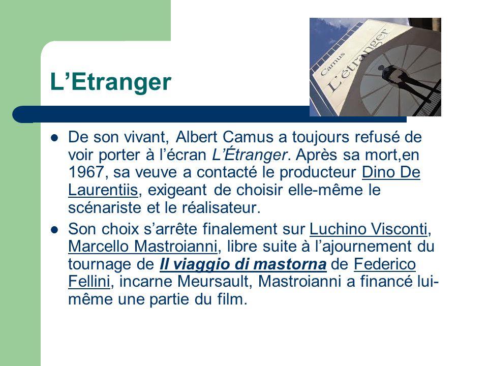 LEtranger De son vivant, Albert Camus a toujours refusé de voir porter à lécran LÉtranger. Après sa mort,en 1967, sa veuve a contacté le producteur Di