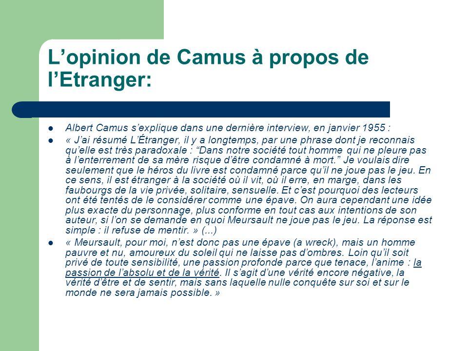Lopinion de Camus à propos de lEtranger: Albert Camus sexplique dans une dernière interview, en janvier 1955 : « Jai résumé LÉtranger, il y a longtemp