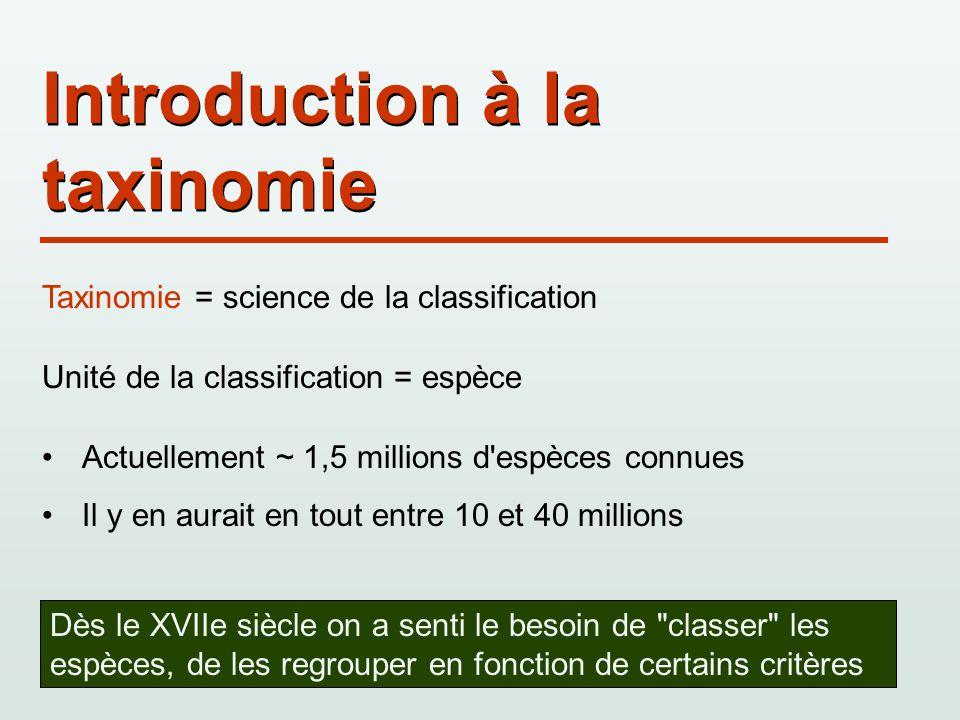 Introduction à la taxinomie Taxinomie = science de la classification Unité de la classification = espèce Actuellement ~ 1,5 millions d'espèces connues