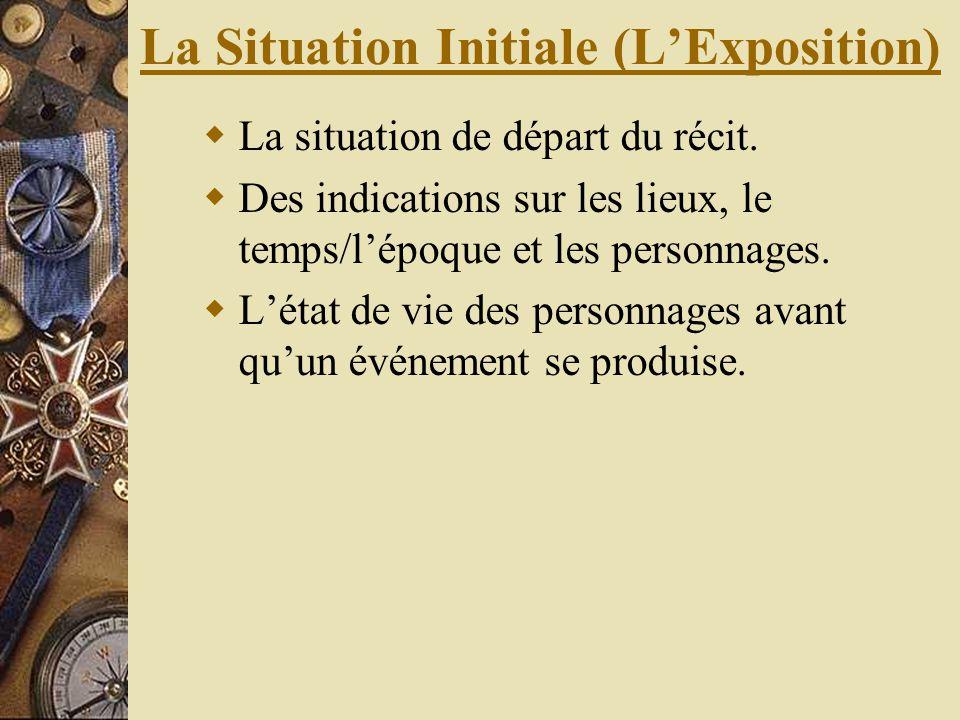 La Situation Initiale (LExposition) La situation de départ du récit. Des indications sur les lieux, le temps/lépoque et les personnages. Létat de vie