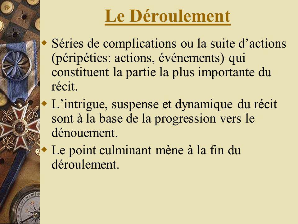 Le Déroulement Séries de complications ou la suite dactions (péripéties: actions, événements) qui constituent la partie la plus importante du récit. L