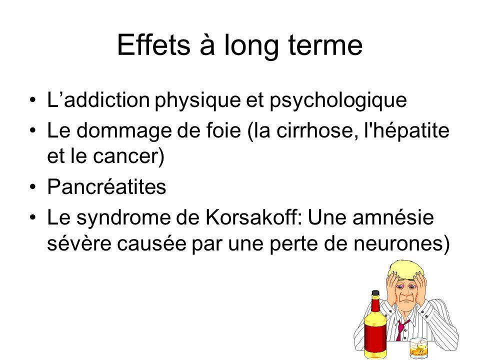 Effets à long terme Laddiction physique et psychologique Le dommage de foie (la cirrhose, l'hépatite et le cancer) Pancréatites Le syndrome de Korsako
