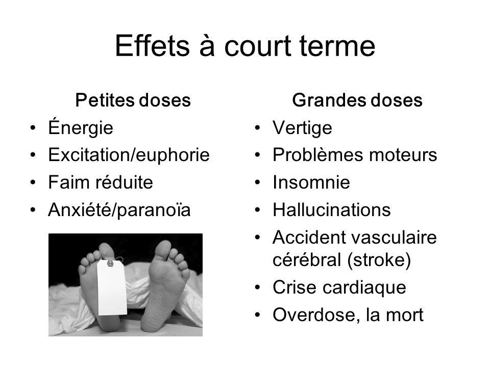 Effets à court terme Petites doses Énergie Excitation/euphorie Faim réduite Anxiété/paranoïa Grandes doses Vertige Problèmes moteurs Insomnie Hallucin
