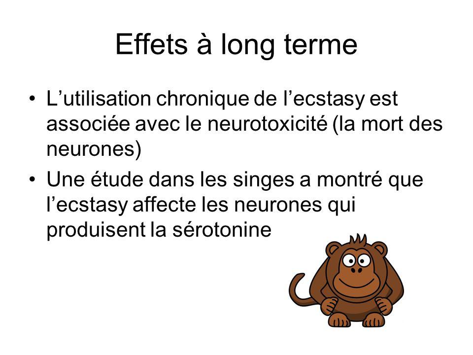 Effets à long terme Lutilisation chronique de lecstasy est associée avec le neurotoxicité (la mort des neurones) Une étude dans les singes a montré qu