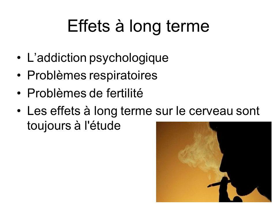 Effets à long terme Laddiction psychologique Problèmes respiratoires Problèmes de fertilité Les effets à long terme sur le cerveau sont toujours à l'é