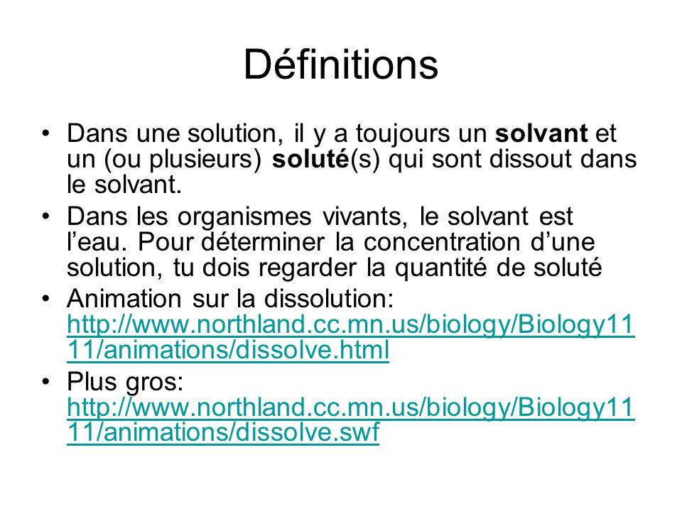Définitions Dans une solution, il y a toujours un solvant et un (ou plusieurs) soluté(s) qui sont dissout dans le solvant. Dans les organismes vivants