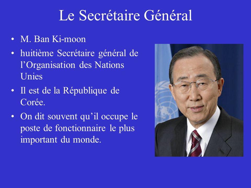 Le Secrétaire Général M. Ban Ki-moon huitième Secrétaire général de lOrganisation des Nations Unies Il est de la République de Corée. On dit souvent q