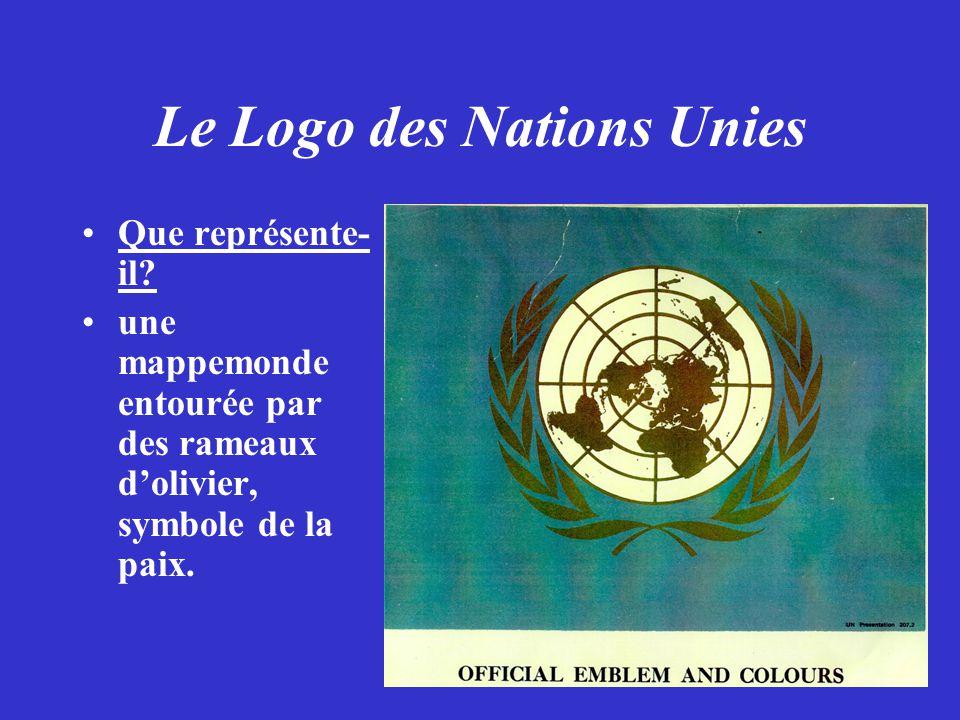 Le Logo des Nations Unies Que représente- il? une mappemonde entourée par des rameaux dolivier, symbole de la paix.