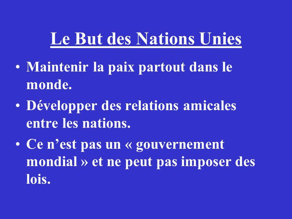 Le But des Nations Unies Maintenir la paix partout dans le monde. Développer des relations amicales entre les nations. Ce nest pas un « gouvernement m