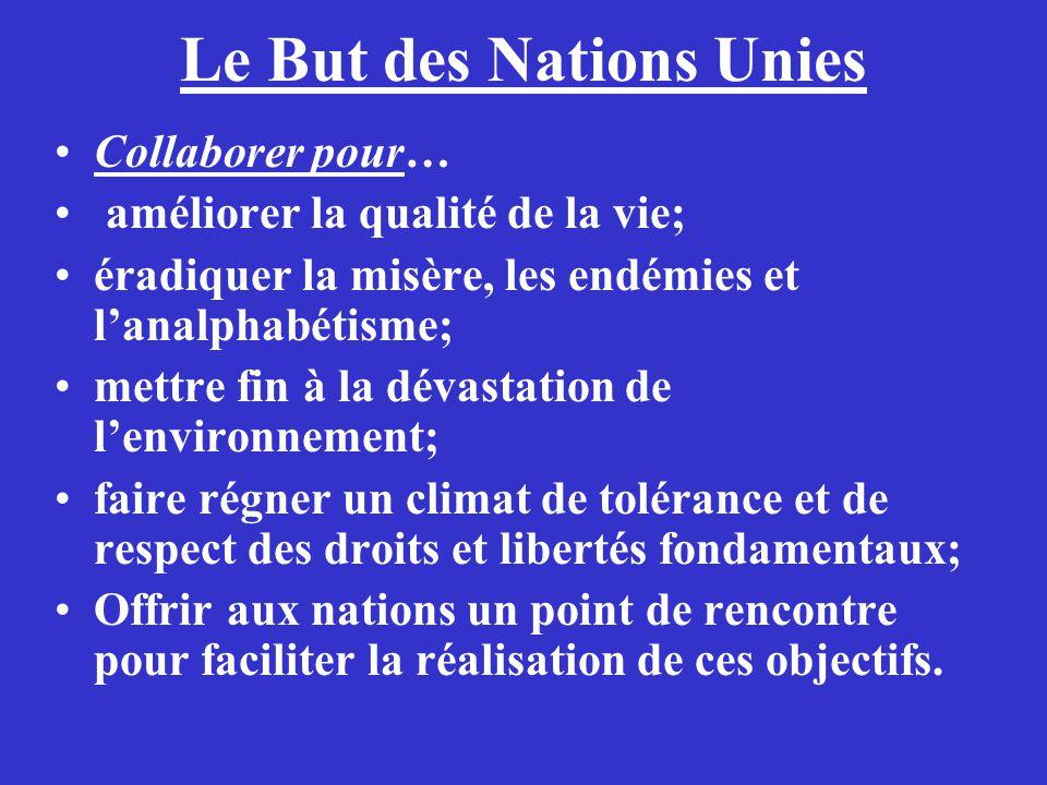 Le But des Nations Unies Collaborer pour… améliorer la qualité de la vie; éradiquer la misère, les endémies et lanalphabétisme; mettre fin à la dévast