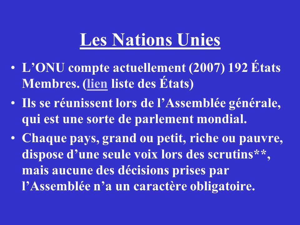 Les Nations Unies LONU compte actuellement (2007) 192 États Membres. (lien liste des États)lien Ils se réunissent lors de lAssemblée générale, qui est
