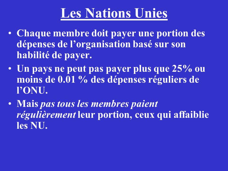 Les Nations Unies Chaque membre doit payer une portion des dépenses de lorganisation basé sur son habilité de payer. Un pays ne peut pas payer plus qu