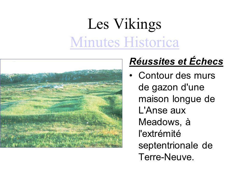 Les Vikings Minutes Historica Minutes Historica Réussites et Échecs Contour des murs de gazon d'une maison longue de L'Anse aux Meadows, à l'extrémité