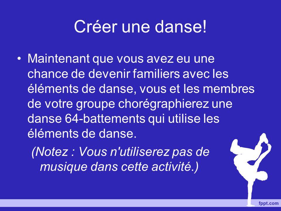 Créer une danse! Maintenant que vous avez eu une chance de devenir familiers avec les éléments de danse, vous et les membres de votre groupe chorégrap