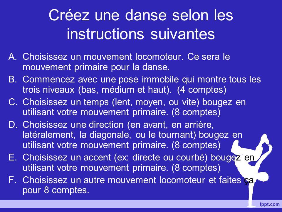 Créez une danse selon les instructions suivantes A.Choisissez un mouvement locomoteur. Ce sera le mouvement primaire pour la danse. B.Commencez avec u