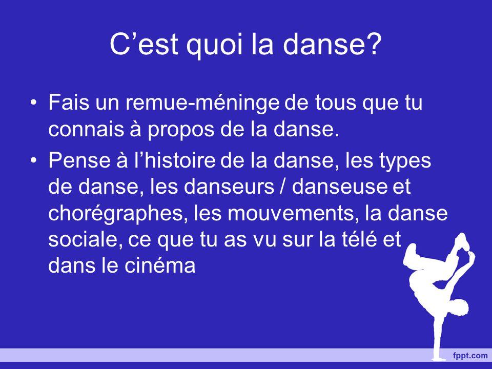 La danse permet au danseur ou le chorégraphe de communiquer leurs idées, pensées et sentiments par le mouvement.