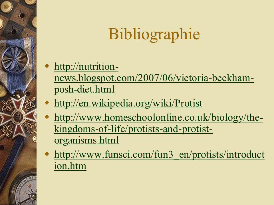 Bibliographie http://nutrition- news.blogspot.com/2007/06/victoria-beckham- posh-diet.html http://nutrition- news.blogspot.com/2007/06/victoria-beckha