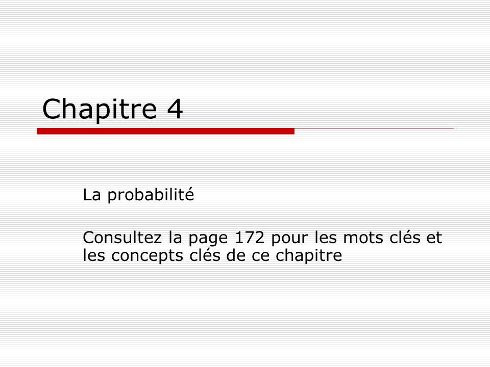 Chapitre 4 La probabilité Consultez la page 172 pour les mots clés et les concepts clés de ce chapitre