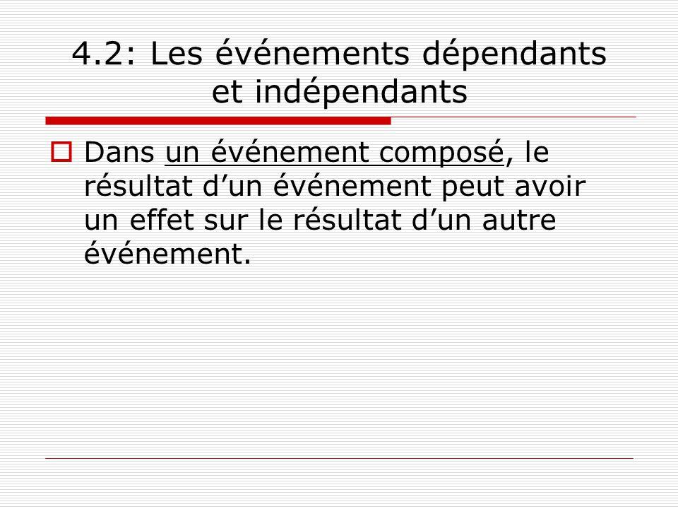 4.2: Les événements dépendants et indépendants Dans un événement composé, le résultat dun événement peut avoir un effet sur le résultat dun autre évén