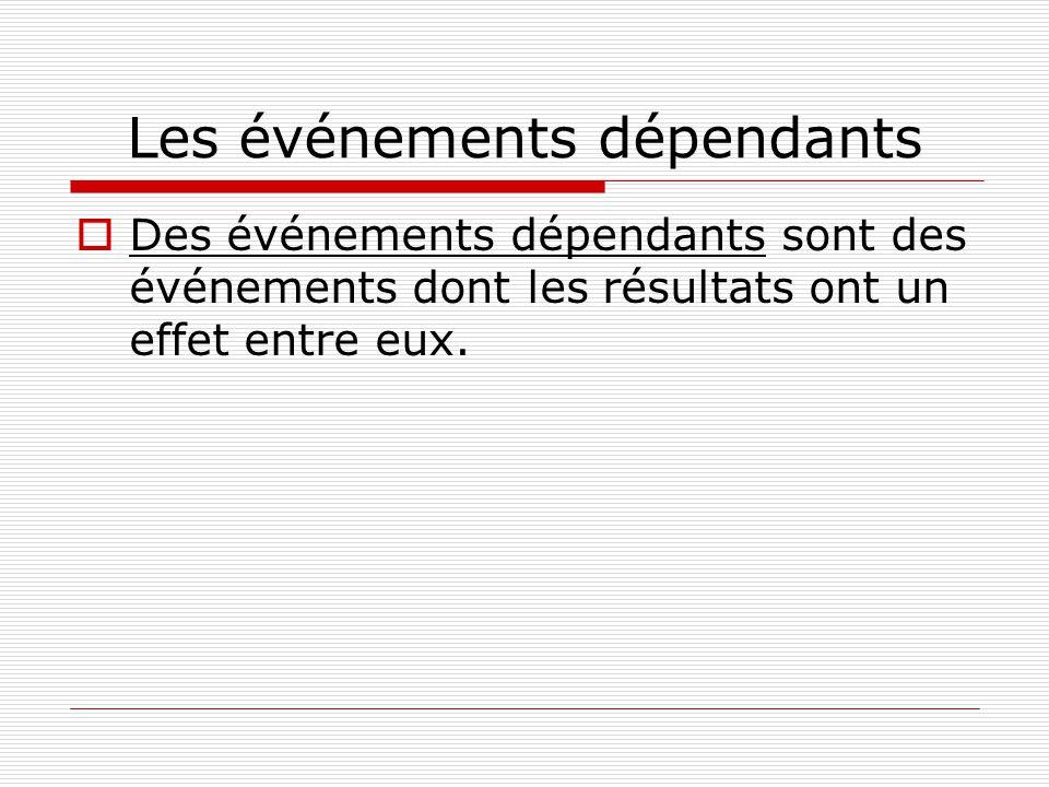 Les événements dépendants Des événements dépendants sont des événements dont les résultats ont un effet entre eux.