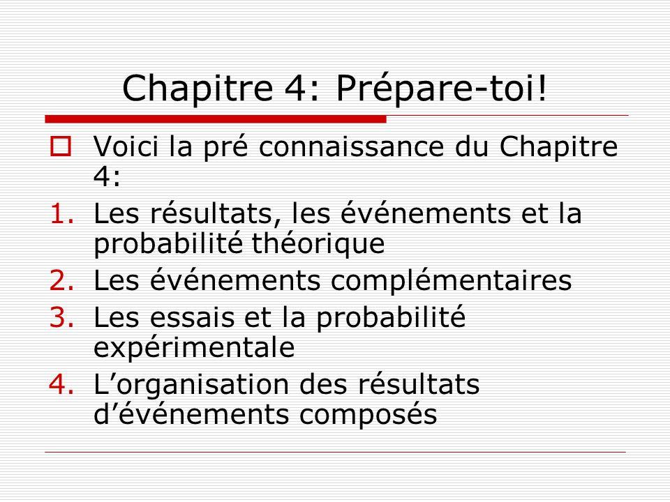 Chapitre 4: Prépare-toi! Voici la pré connaissance du Chapitre 4: 1.Les résultats, les événements et la probabilité théorique 2.Les événements complém