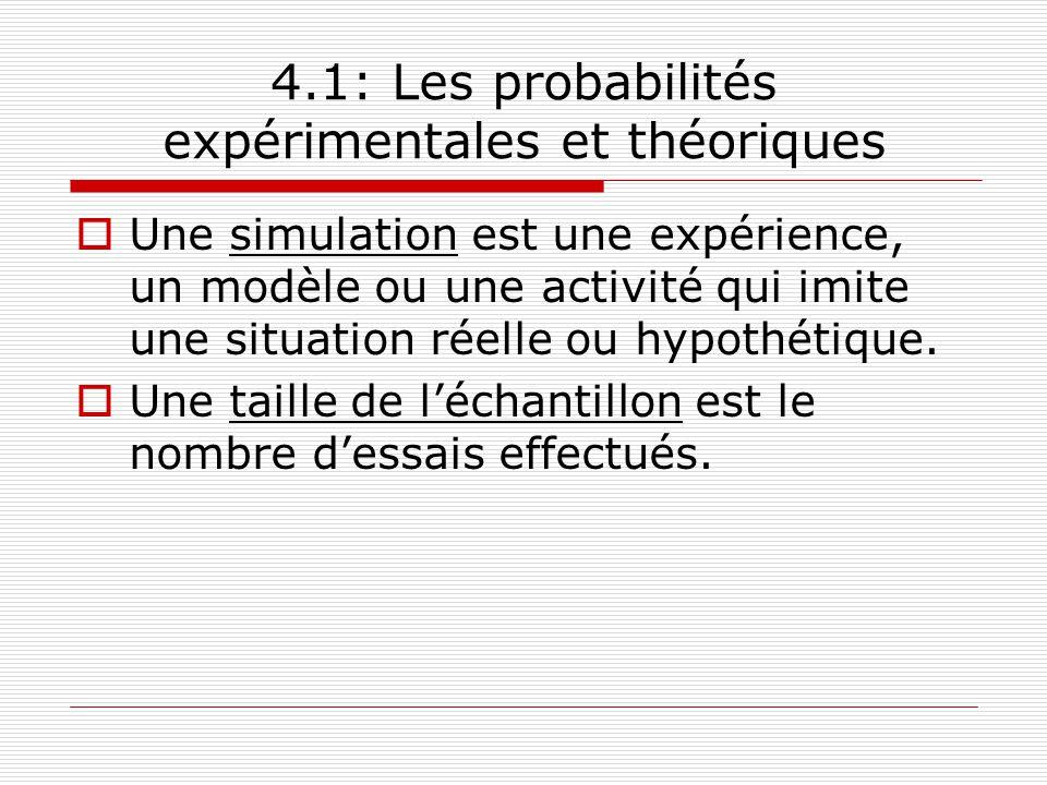 4.1: Les probabilités expérimentales et théoriques Une simulation est une expérience, un modèle ou une activité qui imite une situation réelle ou hypo