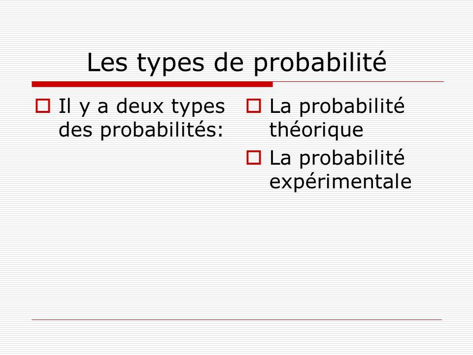 Les types de probabilité Il y a deux types des probabilités: La probabilité théorique La probabilité expérimentale