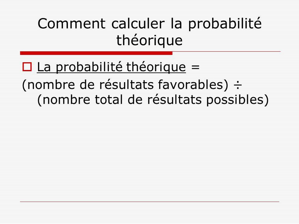 Comment calculer la probabilité théorique La probabilité théorique = (nombre de résultats favorables) ÷ (nombre total de résultats possibles)