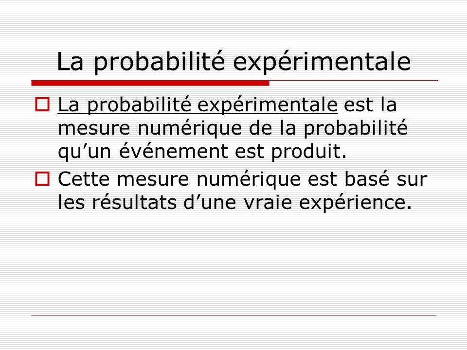 La probabilité expérimentale La probabilité expérimentale est la mesure numérique de la probabilité quun événement est produit. Cette mesure numérique