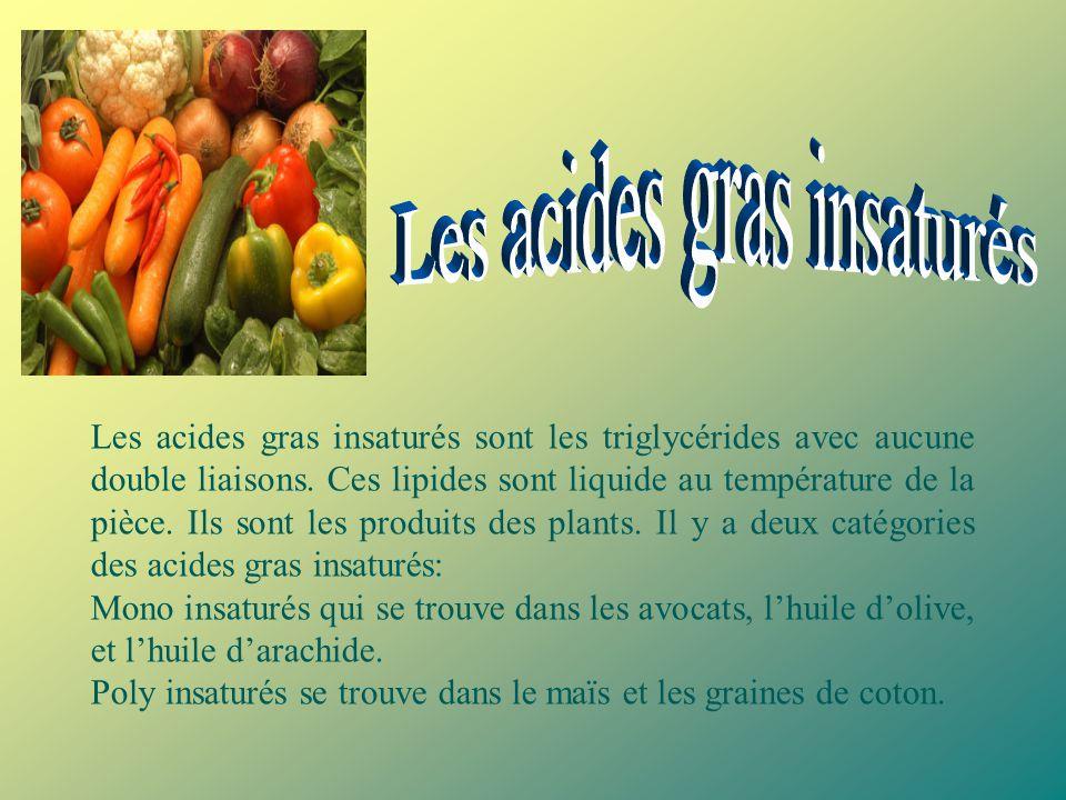 Les acides gras saturés sont les triglycérides avec une structure de simple liaison de carbone. À cause de cette structure, les acides gras saturés so