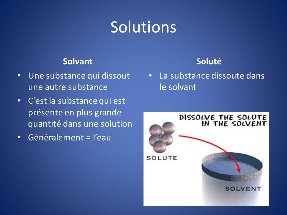 Solutions Solvant Une substance qui dissout une autre substance C'est la substance qui est présente en plus grande quantité dans une solution Générale