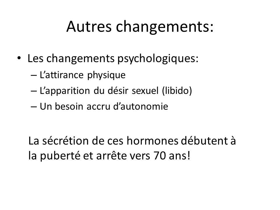 Autres changements: Les changements psychologiques: – Lattirance physique – Lapparition du désir sexuel (libido) – Un besoin accru dautonomie La sécrétion de ces hormones débutent à la puberté et arrête vers 70 ans!