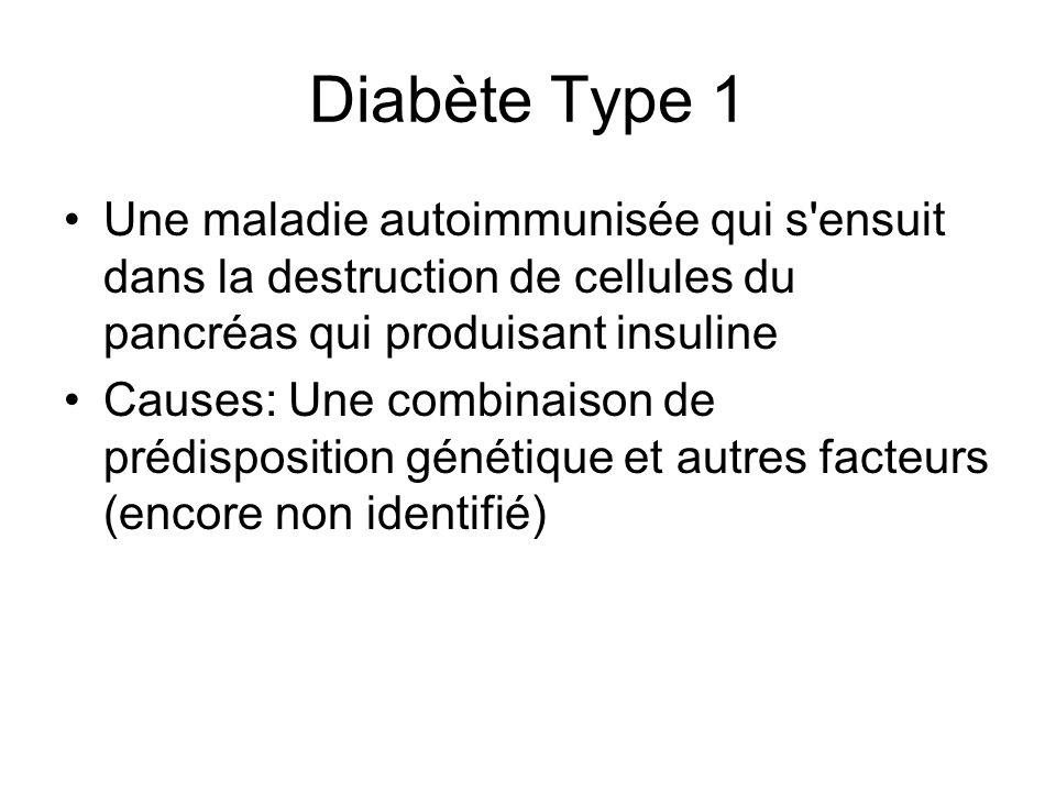 Diabète Type 1 Une maladie autoimmunisée qui s'ensuit dans la destruction de cellules du pancréas qui produisant insuline Causes: Une combinaison de p
