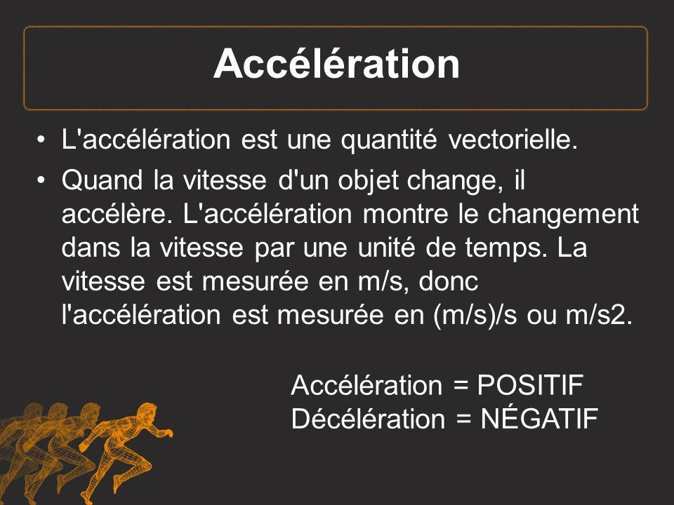 L accélération ( ) est le taux de changement du vecteur vitesse d un objet.