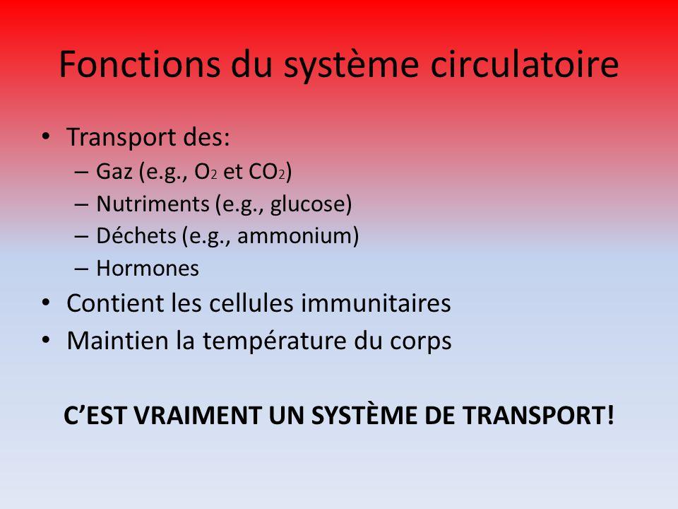 Fonctions du système circulatoire Transport des: – Gaz (e.g., O 2 et CO 2 ) – Nutriments (e.g., glucose) – Déchets (e.g., ammonium) – Hormones Contien