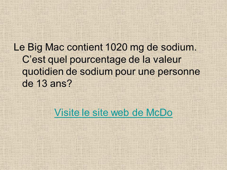 Le Big Mac contient 1020 mg de sodium.