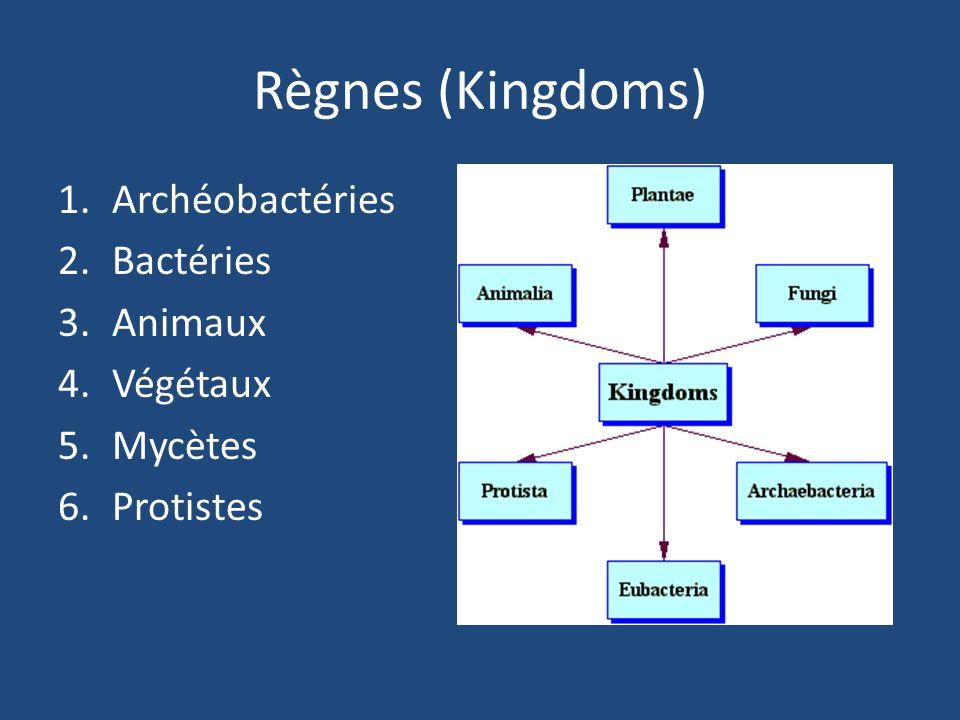 Règnes (Kingdoms) 1.Archéobactéries 2.Bactéries 3.Animaux 4.Végétaux 5.Mycètes 6.Protistes