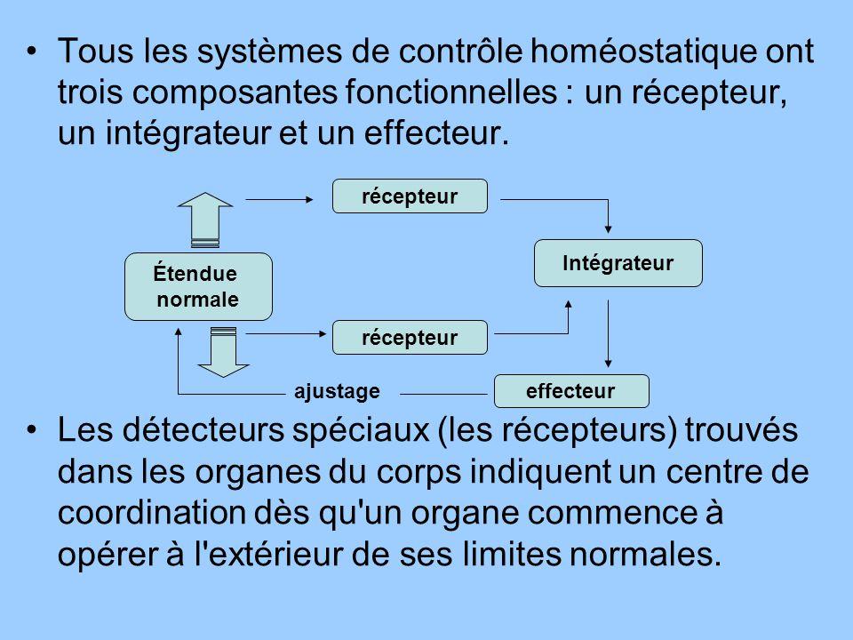 Tous les systèmes de contrôle homéostatique ont trois composantes fonctionnelles : un récepteur, un intégrateur et un effecteur. Les détecteurs spécia