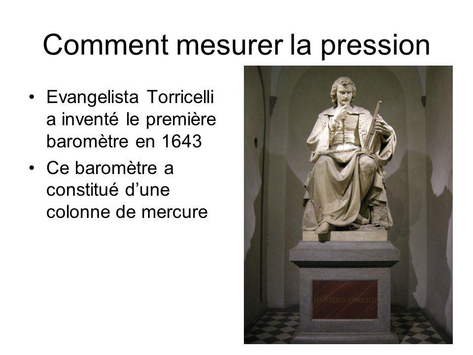 Comment mesurer la pression Evangelista Torricelli a inventé le première baromètre en 1643 Ce baromètre a constitué dune colonne de mercure
